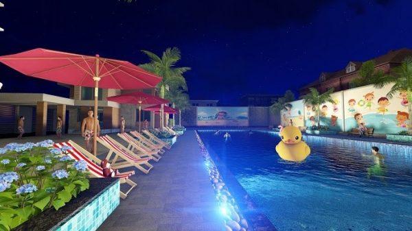 Các bể được thiết kế hiện đại, không lộ rõ các thiết bị hồ bơi dành cho các khu nghỉ dưỡng