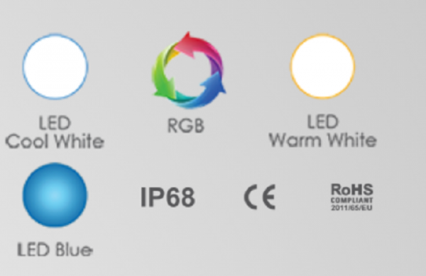 Bảng màu của đèn led hồ bơi EL-S100 thương hiệu Emaux